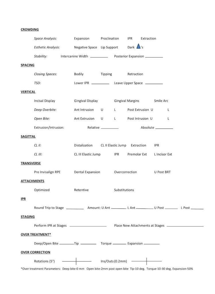 隱適美隱形牙套矯正流程-治療計劃設計項目表
